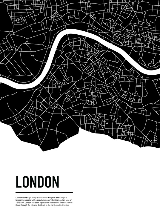 Graphic City Map London Plagát / Mapy & mestá v Desenio AB (11936)