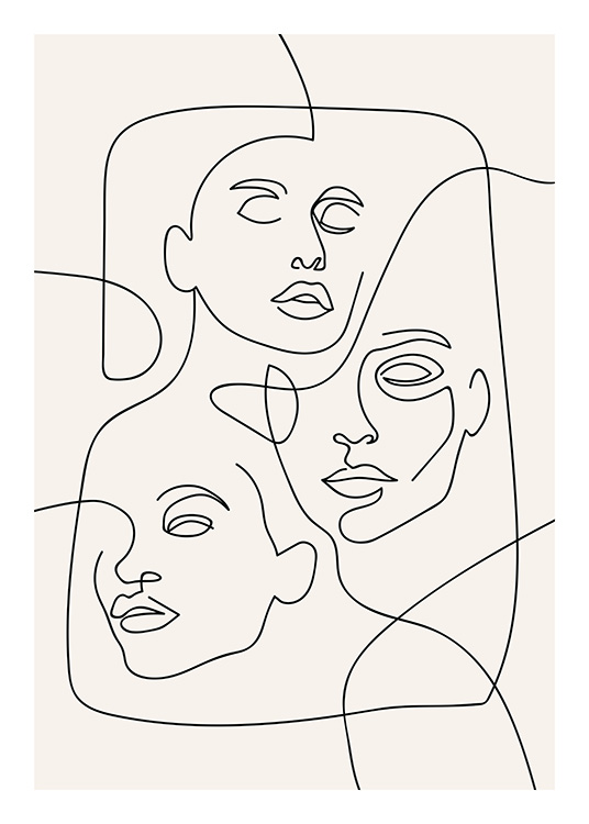 The Three Faces Line Art Plagát / Ilustrácie v Desenio AB (12506)